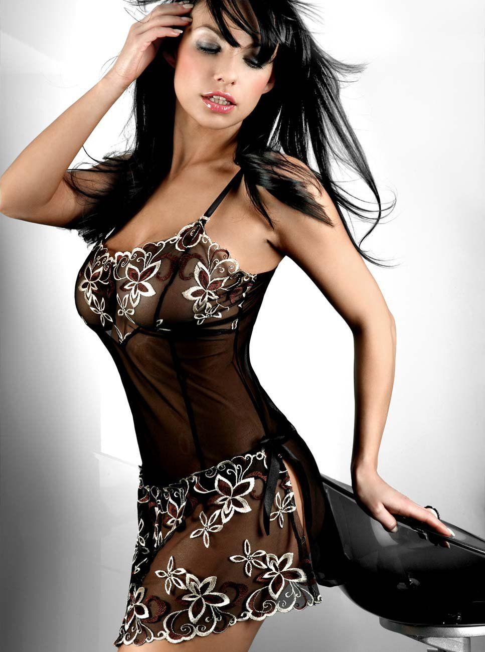 c558c34a949 Free shipping! Black Maxime BabyDoll sexy underwear floral sexy lingerie  Sleepwear Dress Night Wear Size M