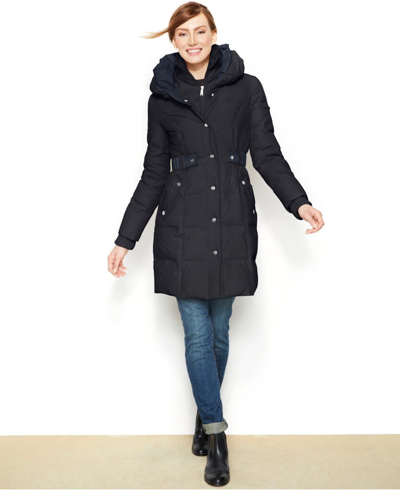 7176f2b72 DKNY Belted Quilted Long-Length Down Puffer Coat - Coats - Women ...