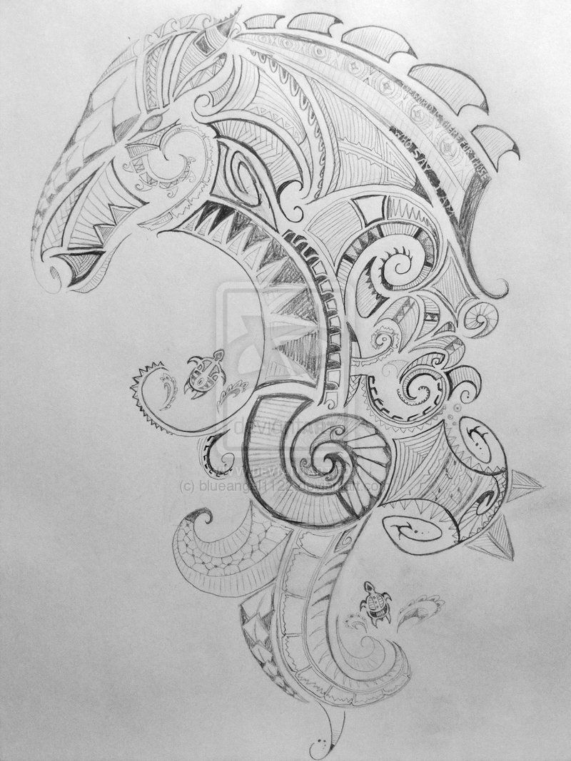 Maori Animal Tattoo Designs: Maori Style Horse Tattoo With Some Turtles... Sea And Land