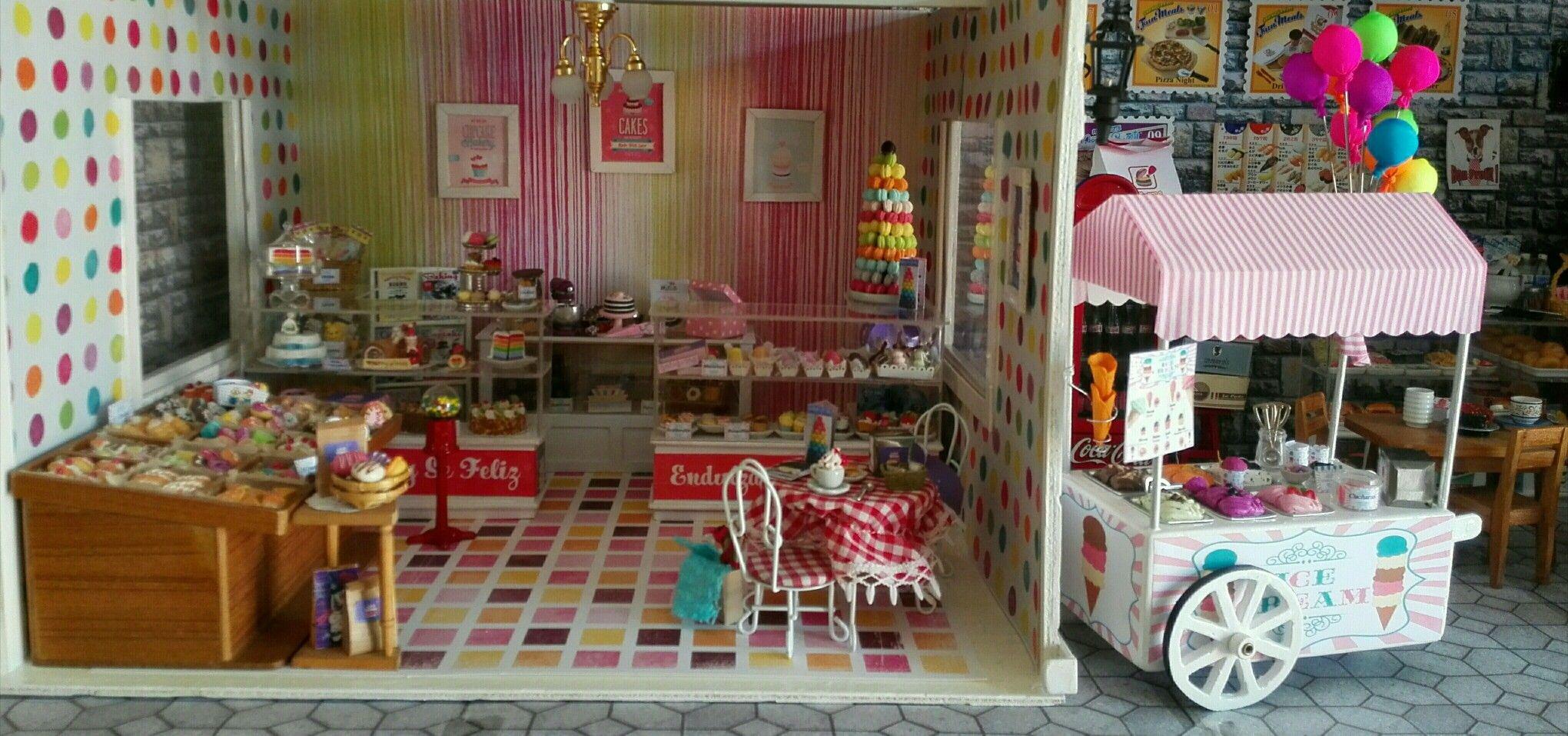 Carrito de helados en miniatura ice cream cart dollhouse miniature pasteleria bakery cupcake