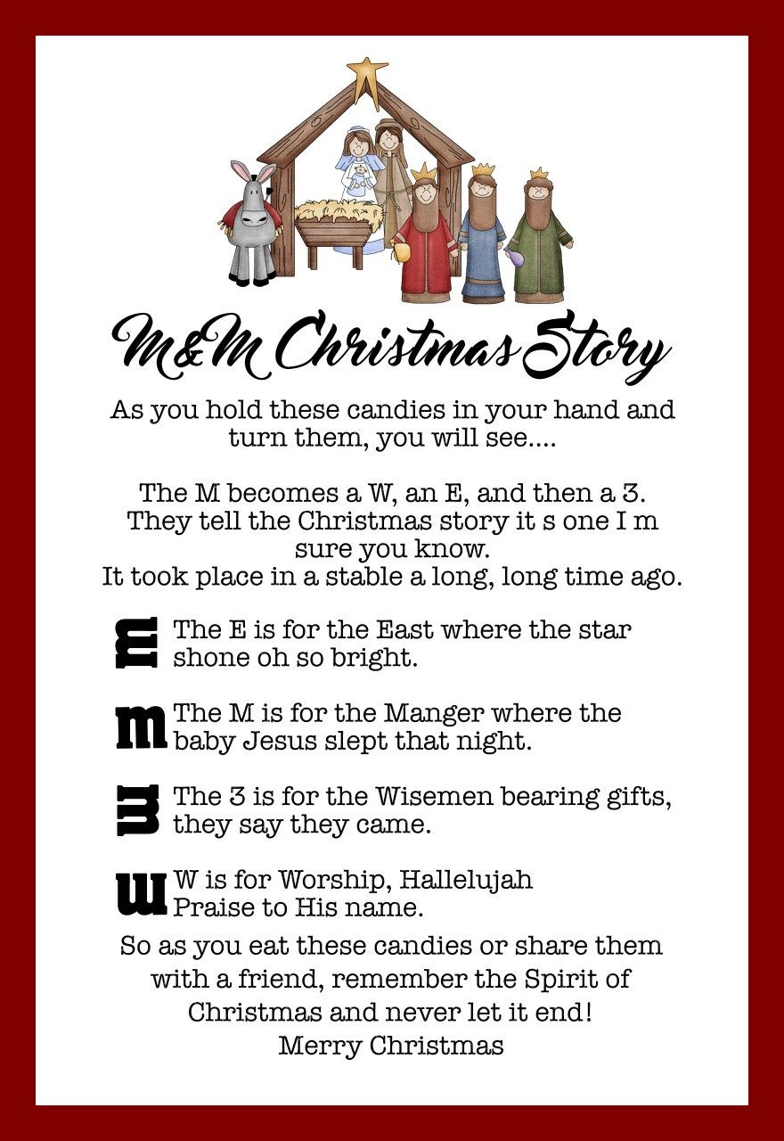 The M&M Christmas Story Over 8 Free Printables Primary