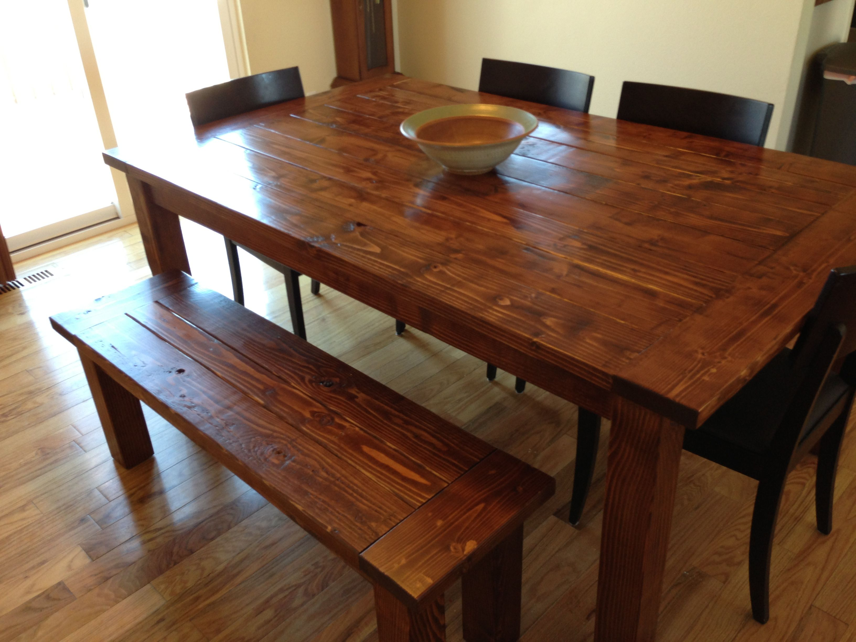 Farmhouse table and bench made from pine 2x6 2x4 and 4x4 39 s stain is minwax english chestnut - Colorful dining room tables ...