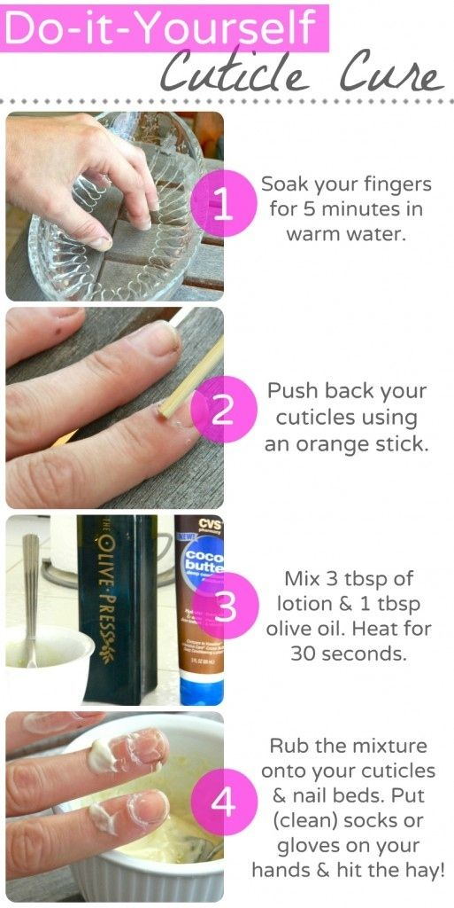 You can make your own overnight cuticle treatment out of olive oil ...