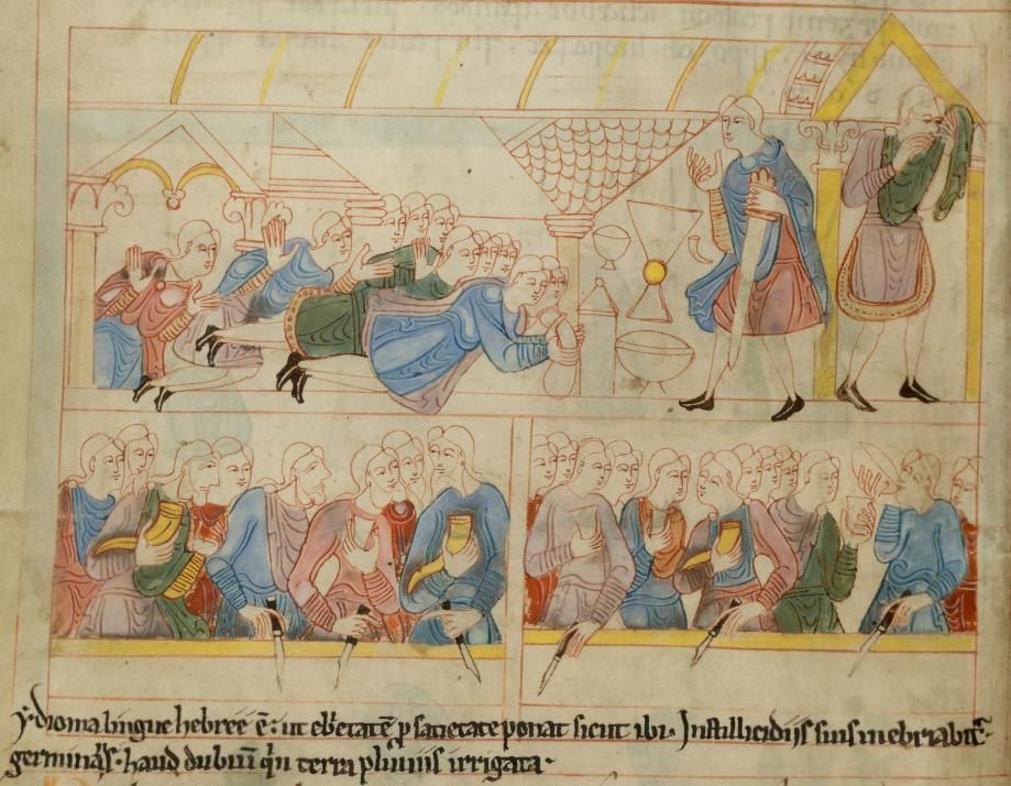 The Brothers Bow to Joseph / The Feast, Anglo-Saxon Hexateuch, British Library, MS Cotton Claudius B IV