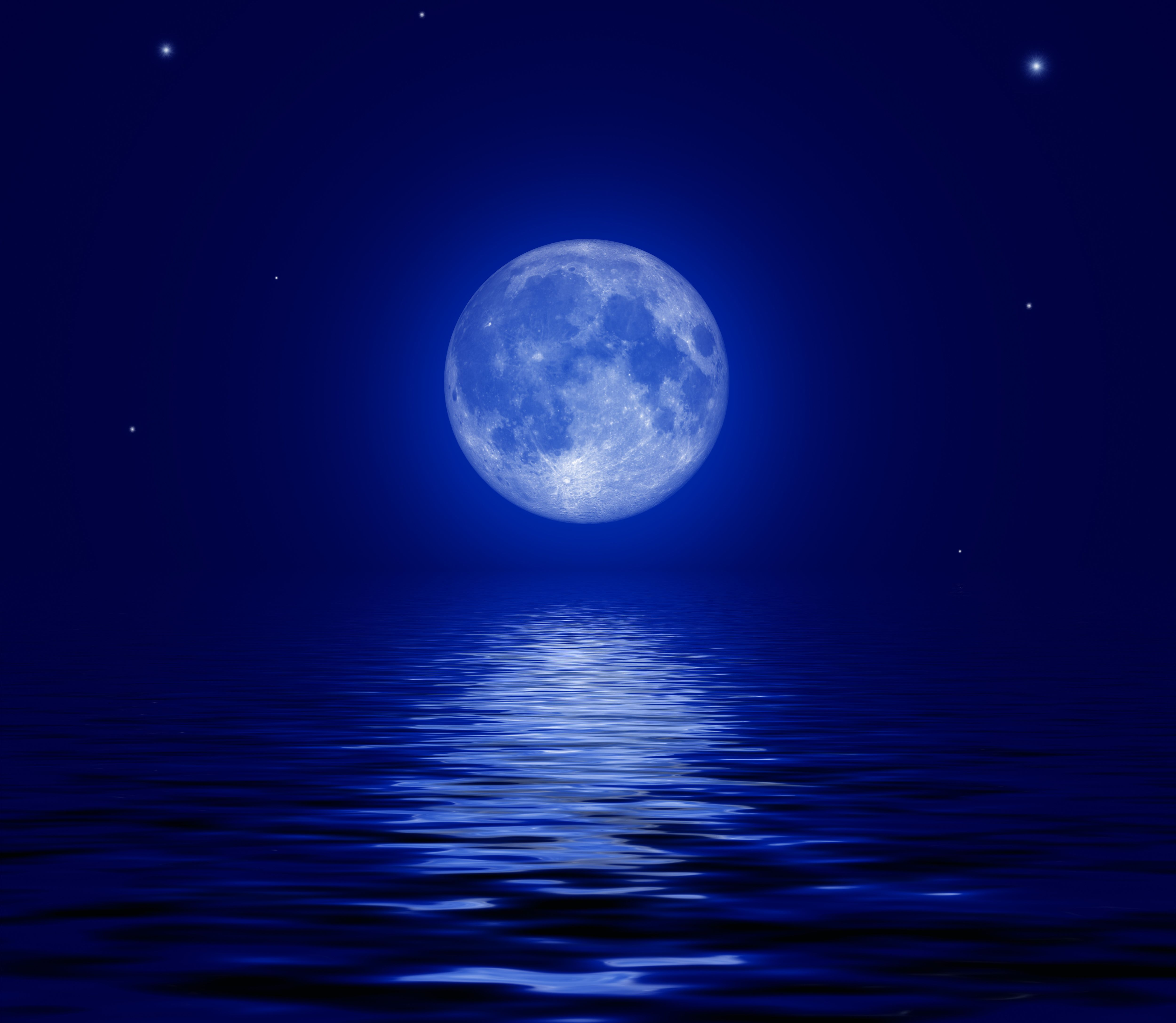 Full Moon In The Ocean Full Moon Over The Sea Computer Wallpapers Desktop Backgrounds Blue Moon Cool Backgrounds Blue Aesthetic