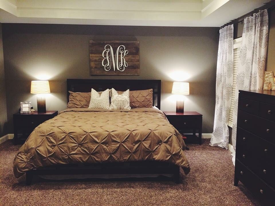 Neutral bedroom with pallet monogram for our home pinterest pallets neutral and monograms Master bedroom art above bed