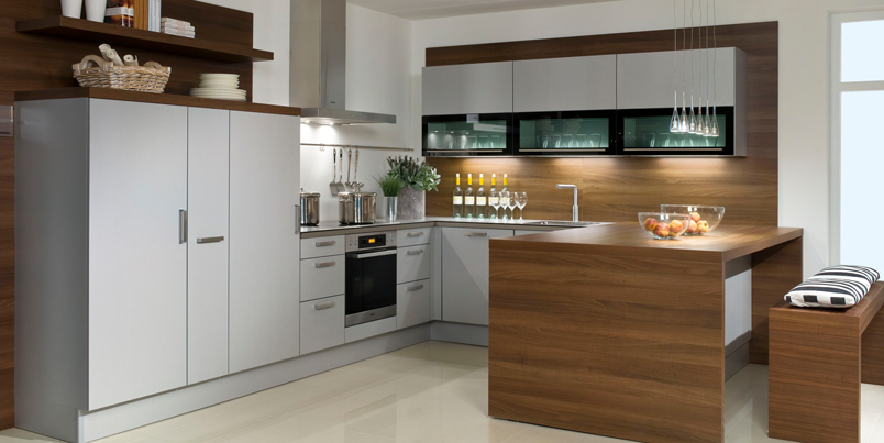 German pronorm kitchen in titanium combined with a walnut for Wood effect kitchen units