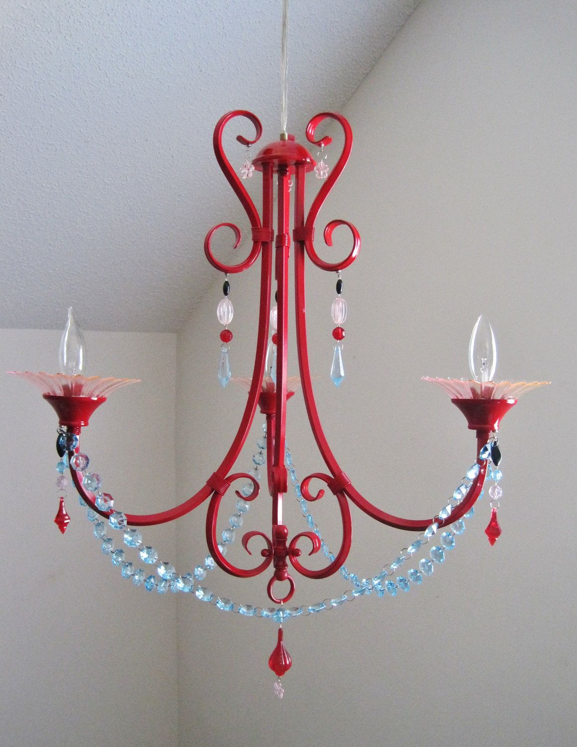 Red pink and aqua 3 arm nursery chandelier made to order nursery red pink and aqua 3 arm nursery chandelier made to order arubaitofo Image collections