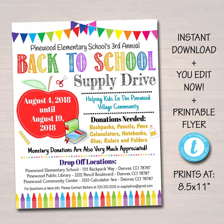 Editable School Supply Drive Flyer Printable Pta Pto Flyer