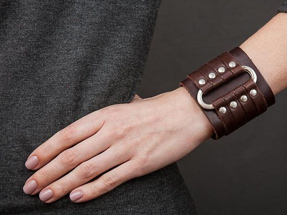 Leather Bracelet Brown Wide Cuff Gothic Jewelry Bangle