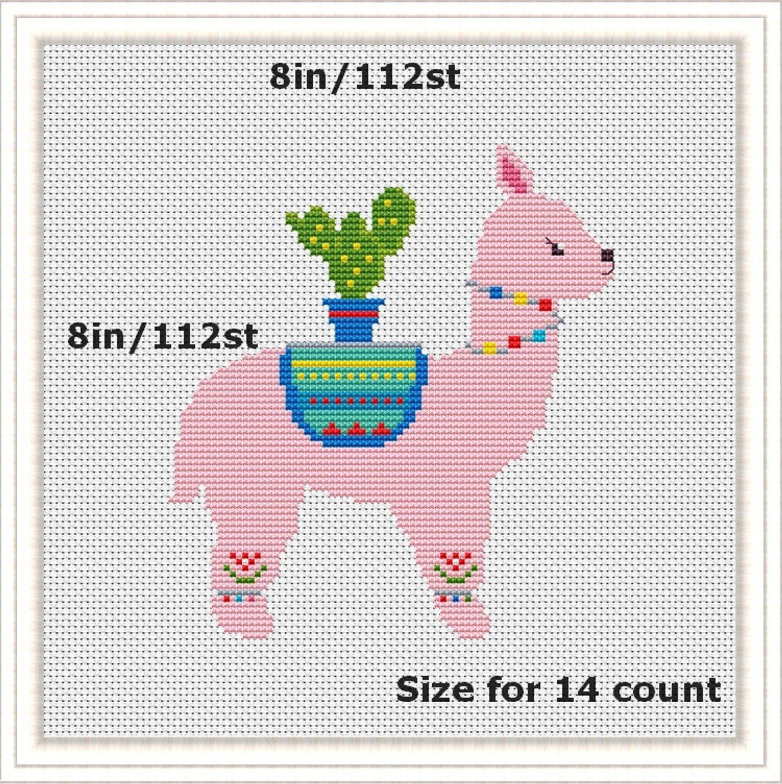 Llama Cross Stitch Modern Pattern Set Funny Cross Stitch