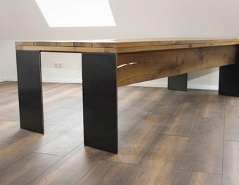 Esstisch Schreibtisch Eiche Massiv Modern Stahl Altholz Mit