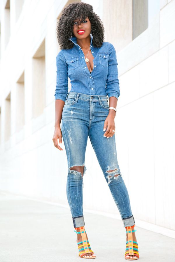 Denim Shirt   Distressed High Waist Jeans (Style Pantry ...