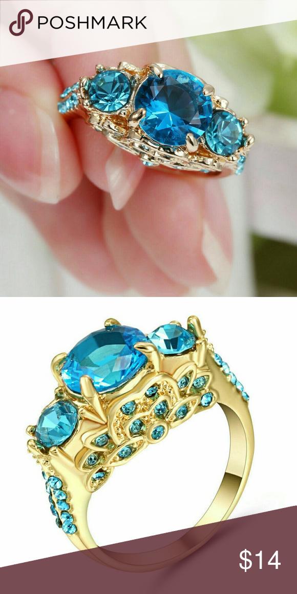Indicolite CZ ThreeStone Accented Gold Ring DETAILS