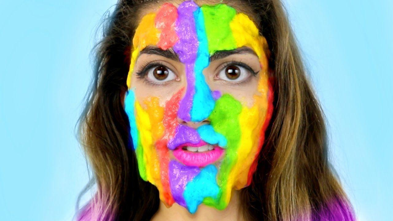 Diy rainbow slime peel off face mask