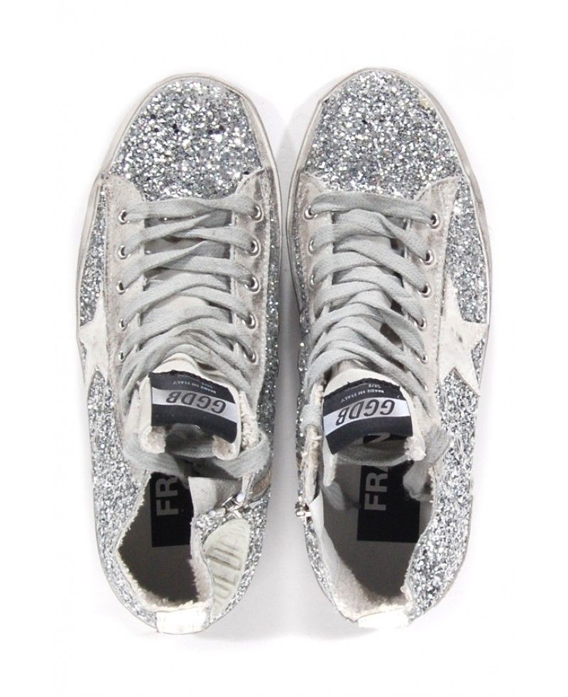 e8f4d33c2a1a2b Golden goose deluxe brand Francy Glitter High-Top Sneakers in Silver