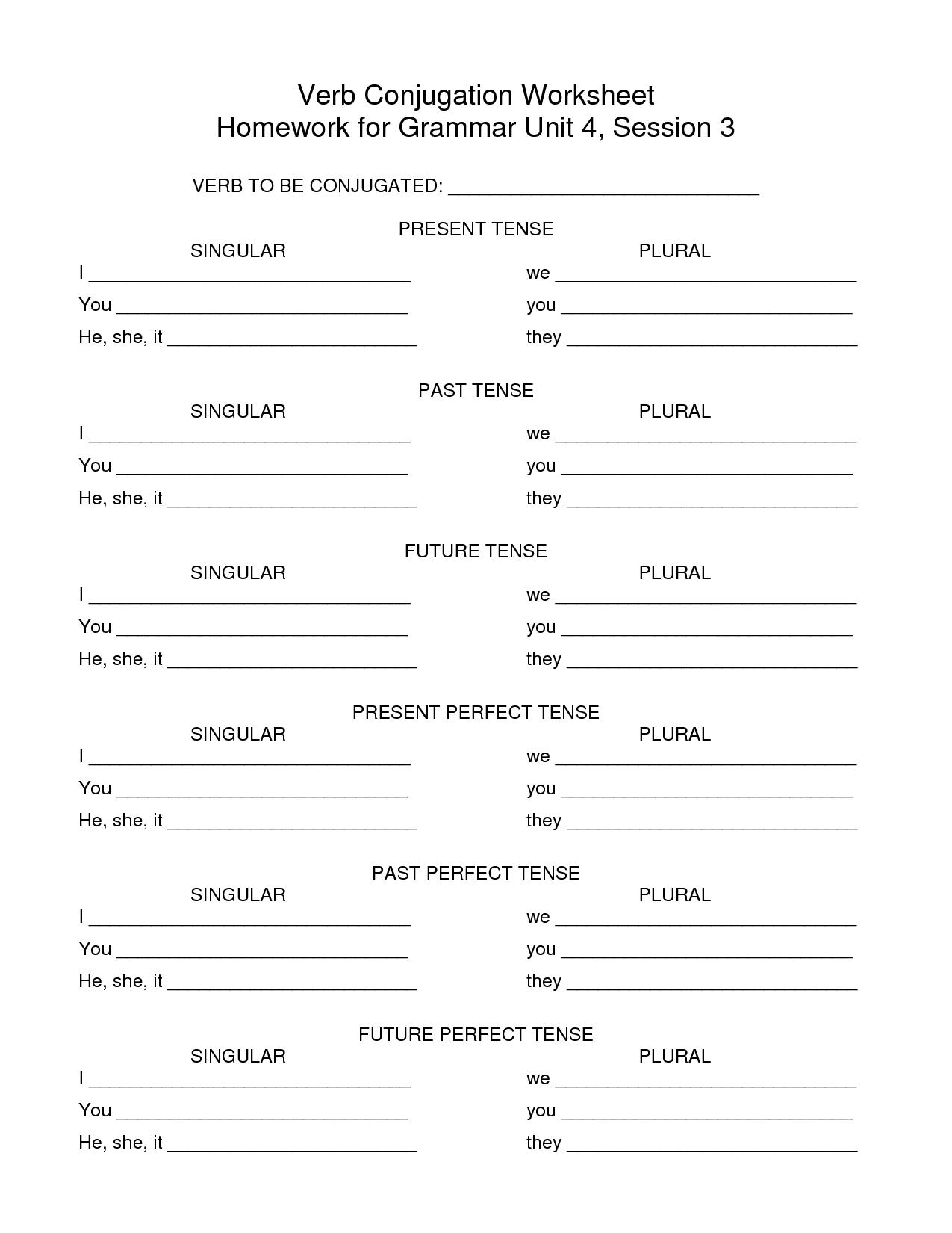 Spanish Verb Conjugation Worksheets Blank