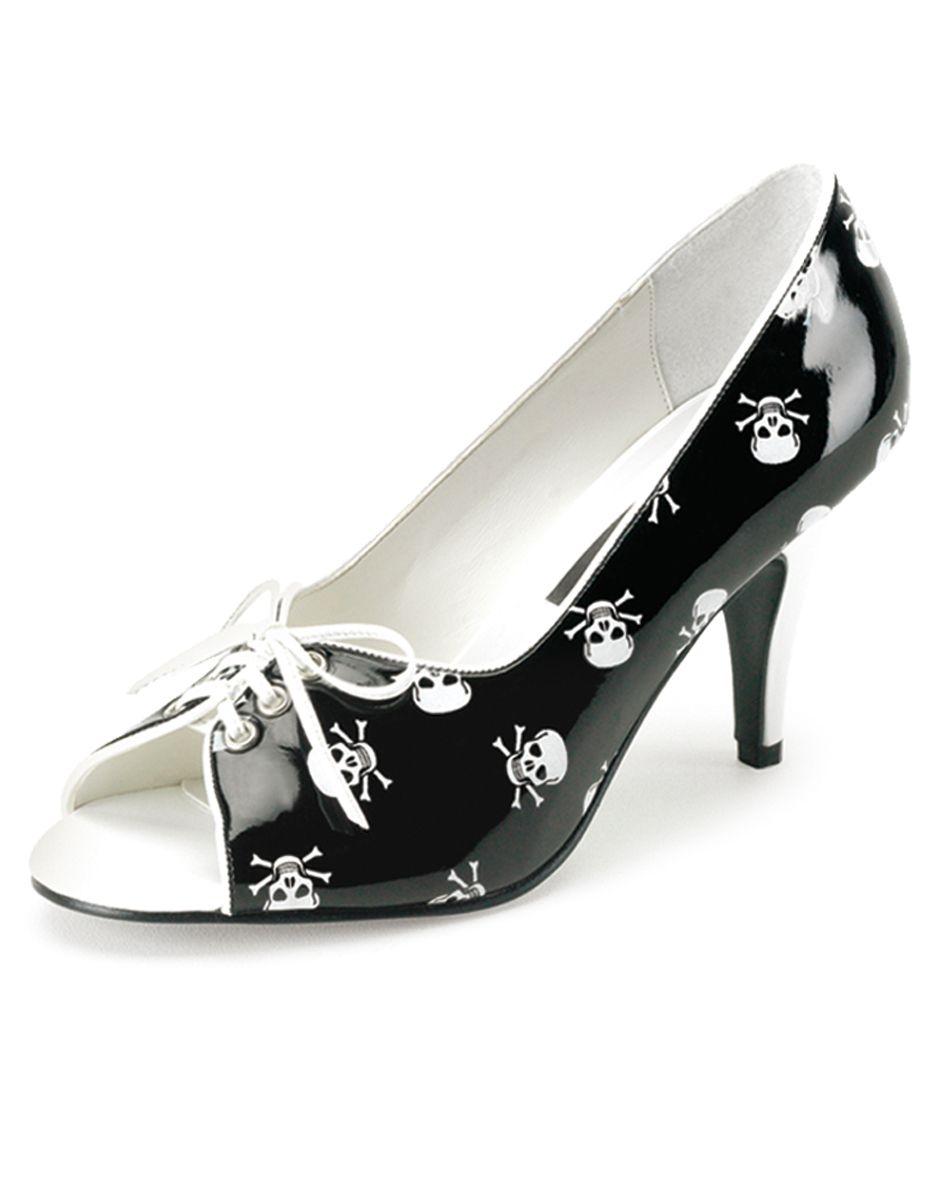 Womens Black & White Pirate Skull Shoes