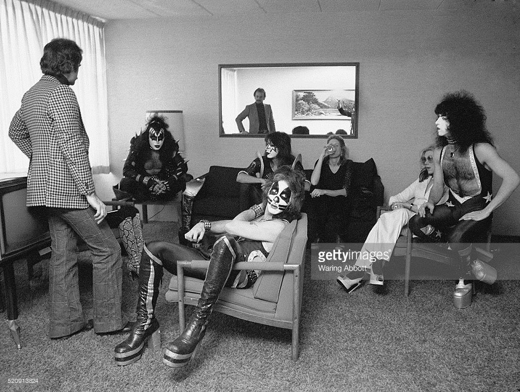 American Hard Rock Band Kiss In A Hotel Room With Manager Bill