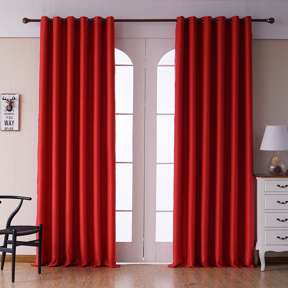 Black, Coffee, Light Grey, Red Modern Blackout Curtains