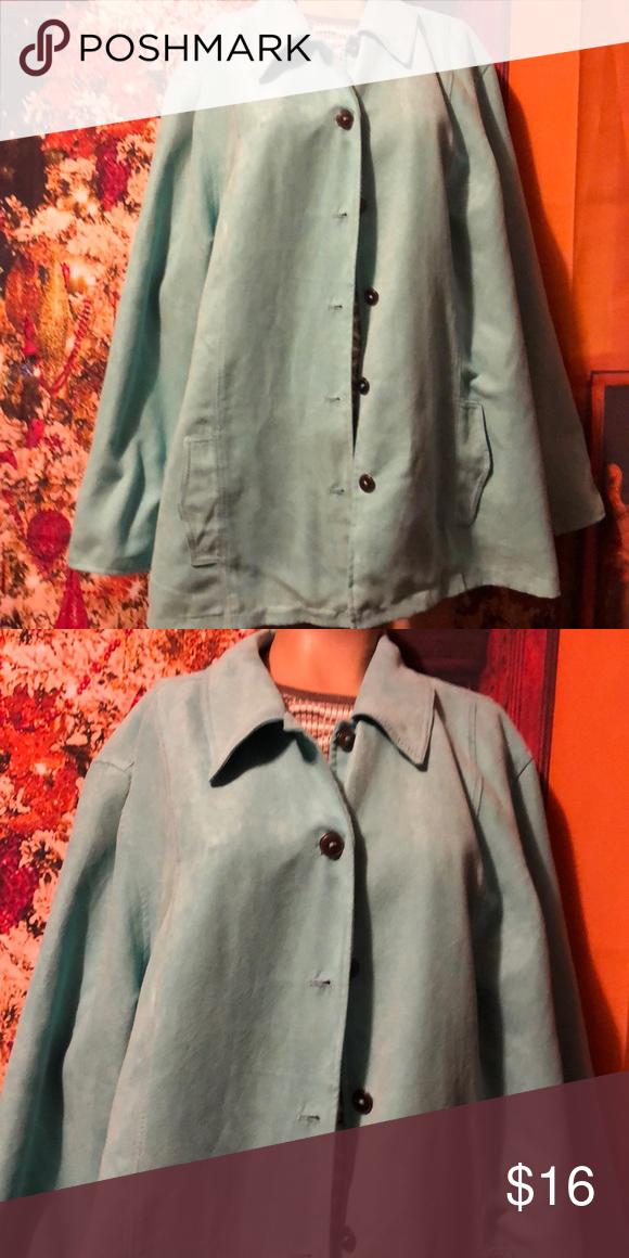 864b026ea83ad CJ Banks lt turquoise jacket blazer 3x soft Feels like suede but is cotton  blend.