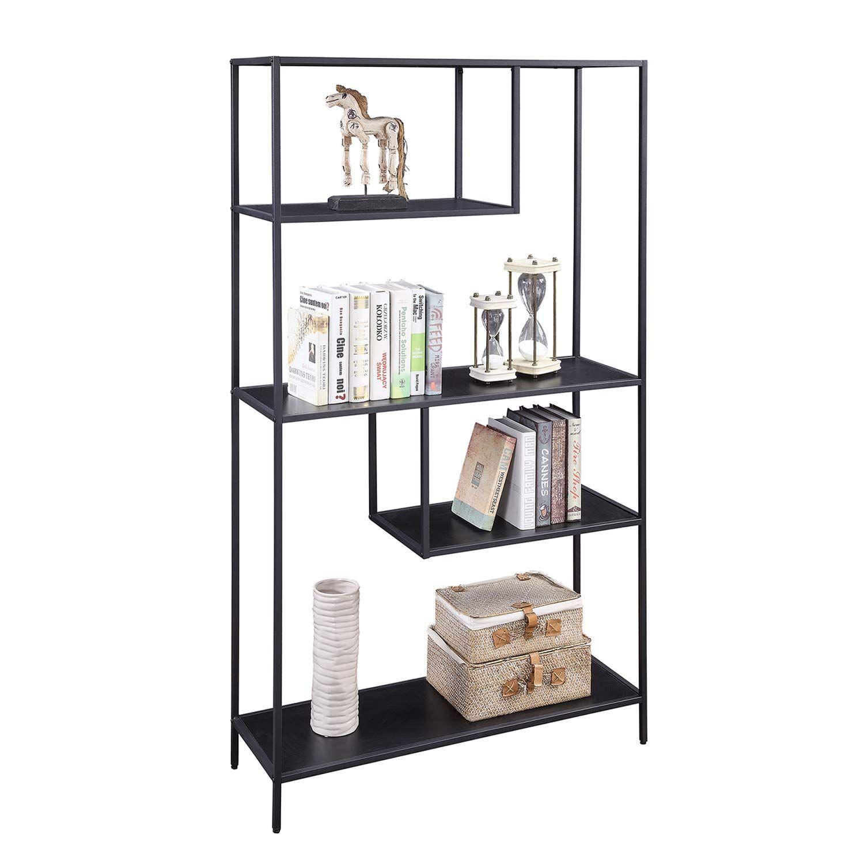 Home Bi Bookshelf Storage Organizer Shelves Unit Metal Open Bookcase Shelf Standing For Office Study Room L In 2020 Bookshelf Storage Open Bookcase Bookcase Shelves
