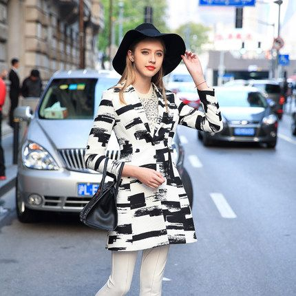 PRASE女装欧洲站2016春装新款风衣 时尚修身黑白印花风衣女装外套