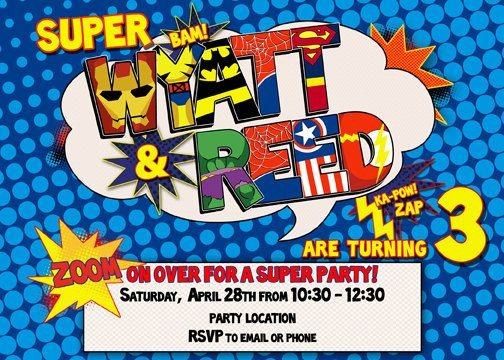 joint superhero birthday party invitation digital file spiderman