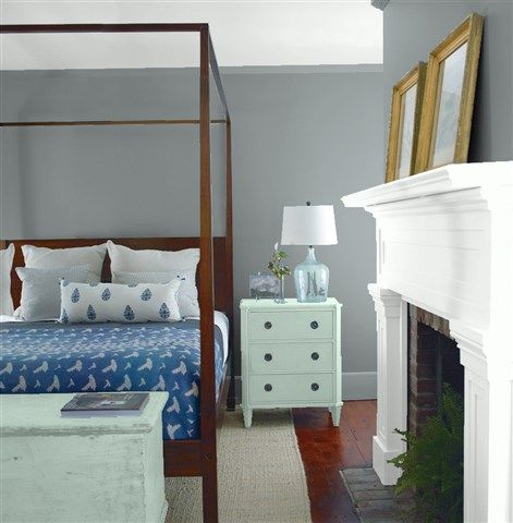 Look at the paint colour combination I created with Benjamin Moore. Via @benjamin_moore. Wall: Shaker Gray 1594; Mantle: Chalk White 2126-70; Chest: Wythe Blue HC-143; Ceiling: Chalk White 2126-70.