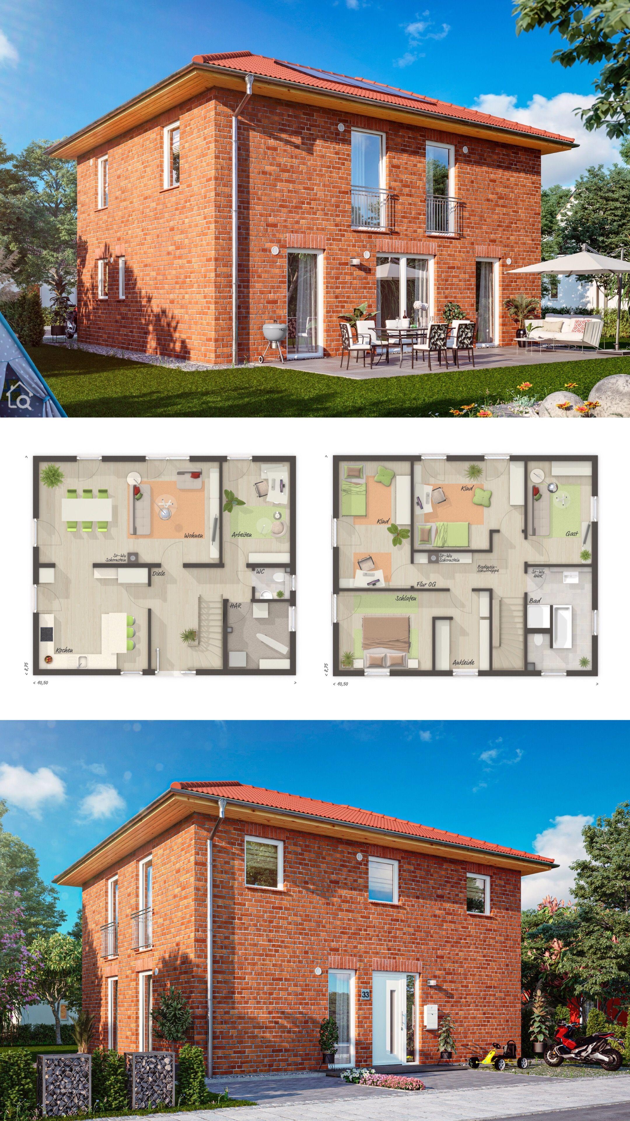 Neubau Stadtvilla mit Klinker Fassade & Walmdach