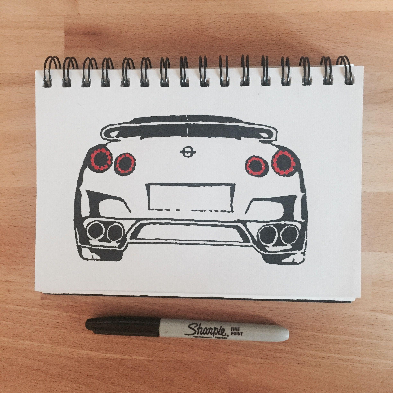 Nissan GTR. Sharpie Sketch. Jap Car. Marker Pen Drawing