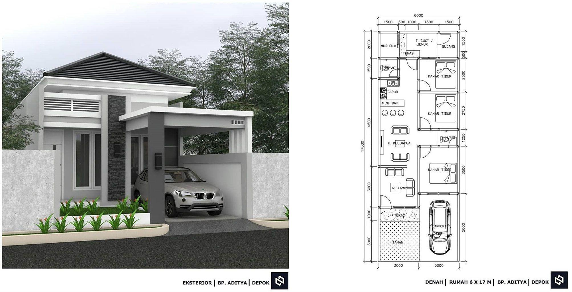 Desain Rumah Minimalis 3 Kamar Tidur Dan Mushola Cek Bahan Bangunan