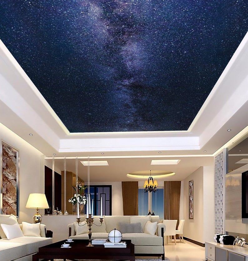 Milky Way Wallpaper Peel And Stick Commercial Grade Mural Etsy Photo Wall Decor Milky Way Ceiling Murals