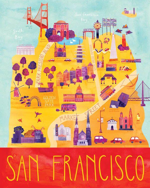 e2a9a3a7e55 San Francisco - Illustrated City Map - Art Print by Marisa Seguin