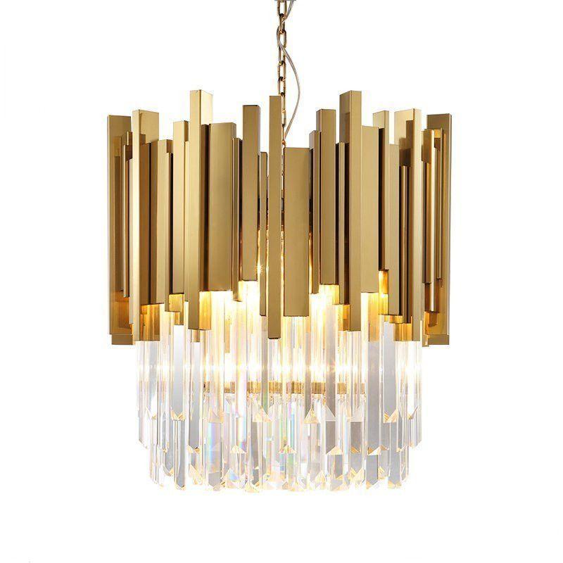 Modern Pendant Light Luxury Gold Stainless Steel Crystal Pendant Lamp Designer Model Room Hotel Hangin Gold Pendant Lighting Modern Pendant Light Pendant Light
