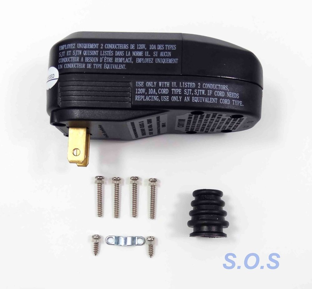 OAONAN 10A GFCI Replacement AC Plug Assembly with Ground Fault Circuit 3-Prongs