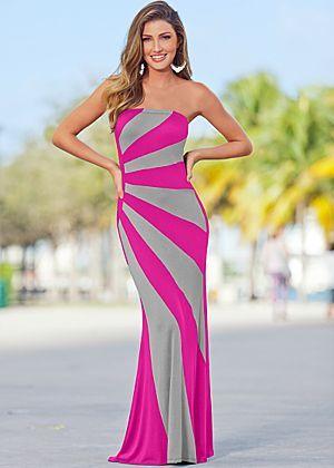 Strapless colorblock maxi dress