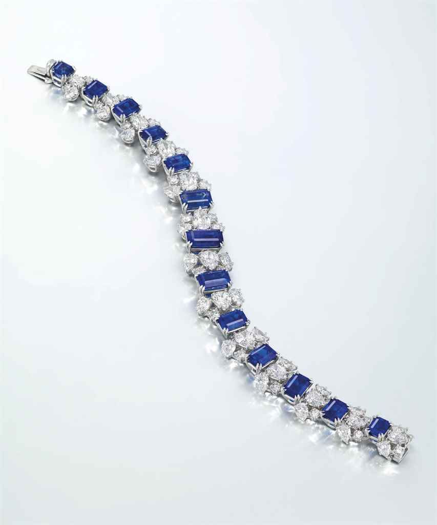 A unique sapphire and diamond bracelet by harry winston set with