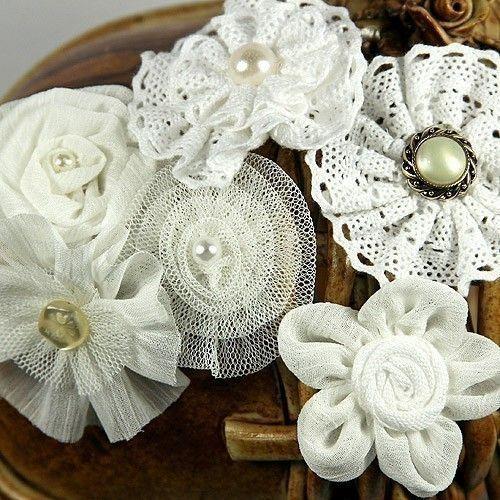 """3 pcs ivory 2.5/"""" tulle folded flowers w// rhinestones /& pearls DIY headband"""