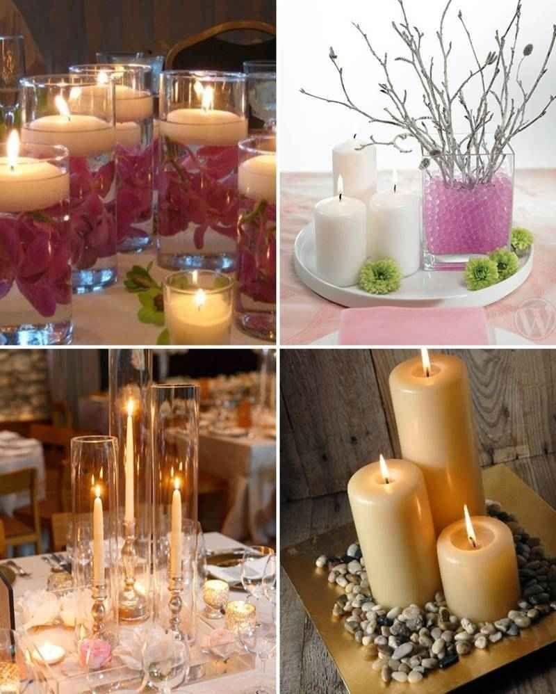 Centro de mesa con velas 15 a os pinterest centros for Decoracion del hogar con velas