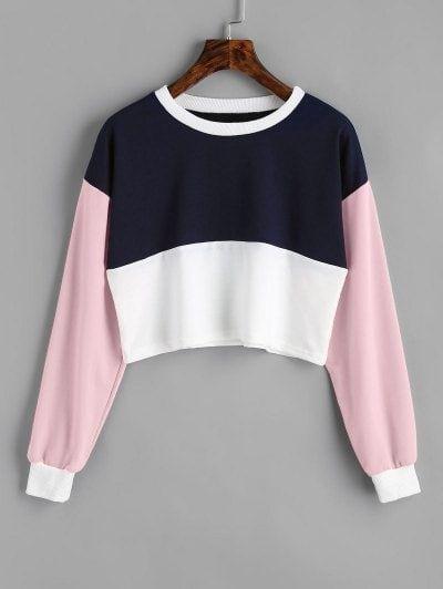 Contrast Crop Sweatshirt   Fashion   Pinterest ...