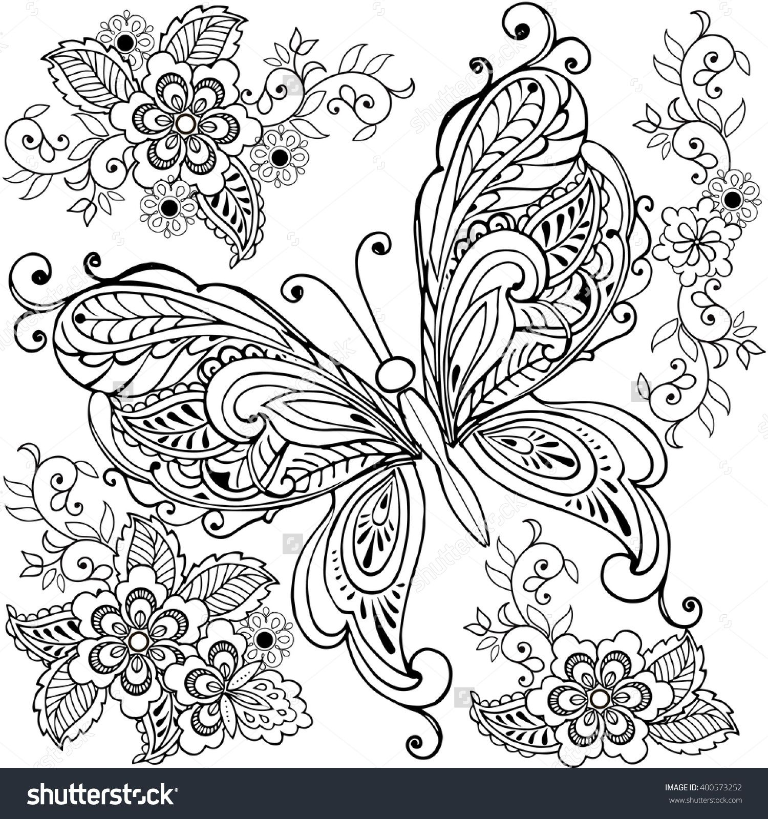 Hand Drawn Decorative Butterfly With Florals For The Anti Stress Coloring Page Mandala Coloring Pages Butterfly Coloring Page Mandala Coloring [ 1600 x 1500 Pixel ]