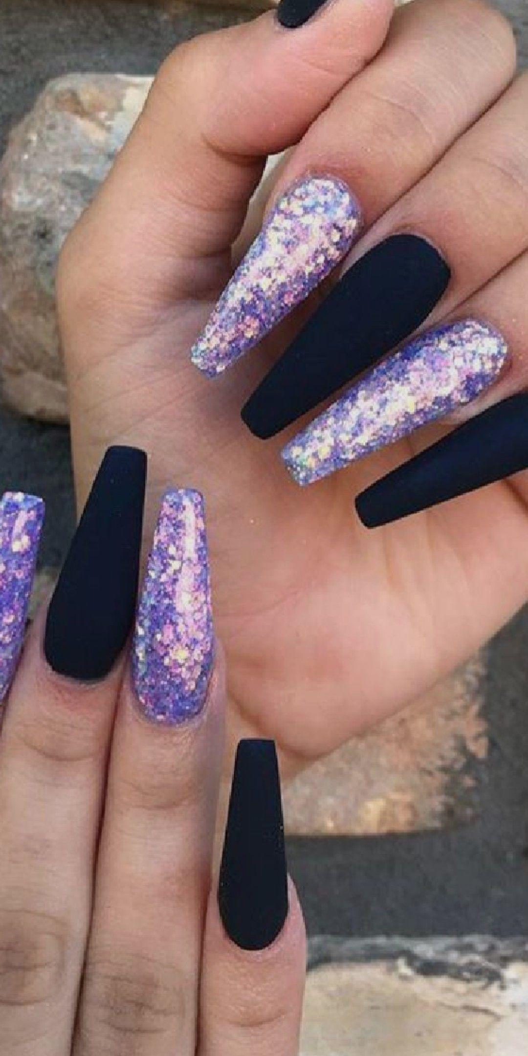 Purple Black Nail Designs Coffin Nails Designs Nails