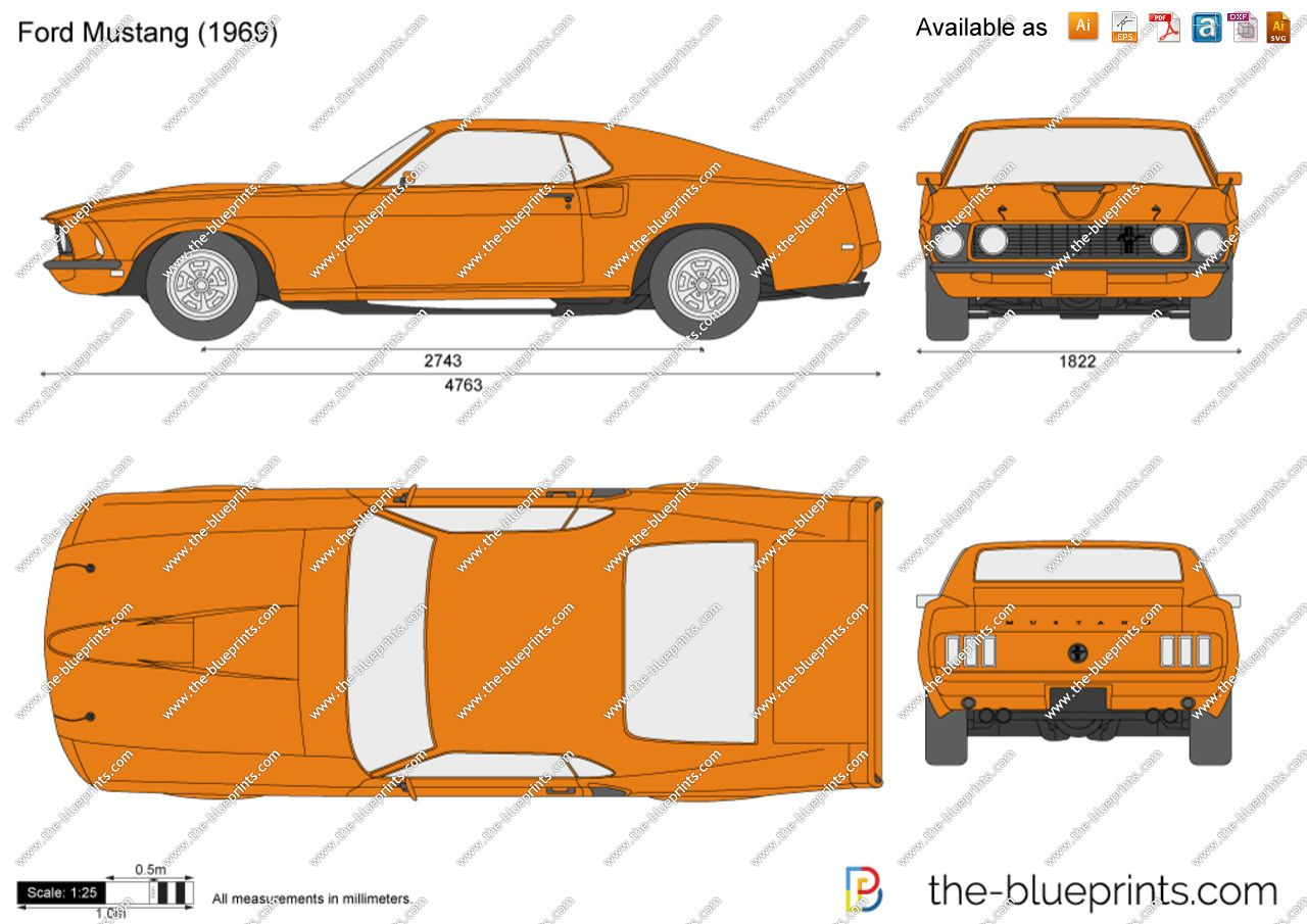 1969 Ford Mustang Blueprints Ford Mustang Mustang Blueprints