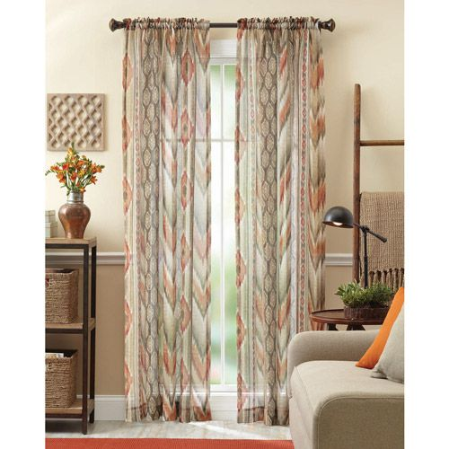 Better Homes And Gardens Ikat Sheet Curtain Panel Spice