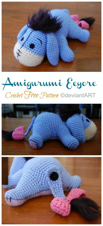 Amigurumi Eeyore Donkey Crochet Free Patterns - Crochet & Knitting #amigurumi #crochet #knitting #amigurumipatterns #crochetafghanpatterns #babycrochetpatterns #crochetafghan #yarn #crochetscarf #crochetblanket