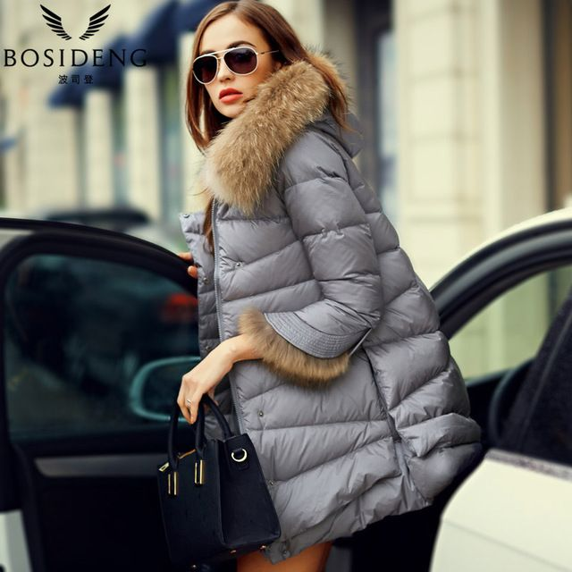 39fc752b8 BOSIDENG women's clothing winter jacket outwear down coat thick fur ...