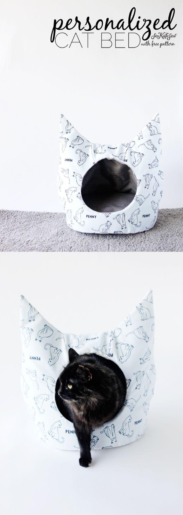 free cat bed sewing pattern   nähen, katzen und nähideen