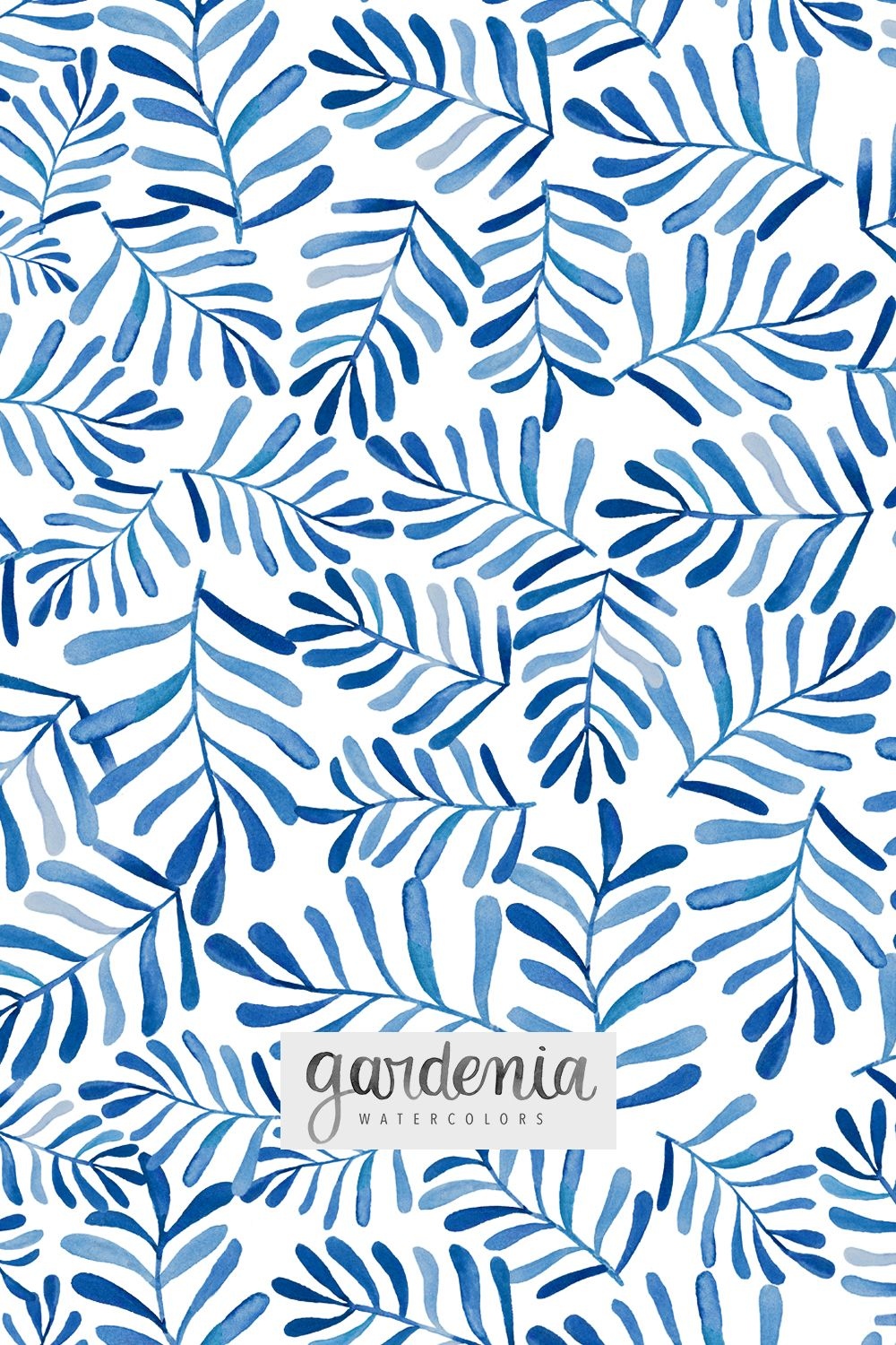 Gardenia Watercolors Fun Blue And White Design Hand Painted With
