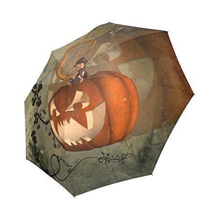 Travel Umbrella Portable Folding Umbrellas With Halloween Pumpkin Printed Printed